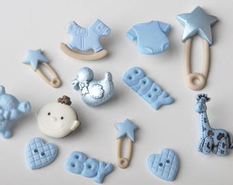 "Dress it up ""baby boy"" button set"