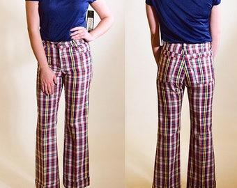 "Authentic vintage 1970's Levi's plaid "" Big E student sta press "" trouser pants with cuffed bells preppy Brady Bunch waist 28"