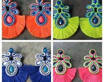 12 pairs of earrings with fringes 8cm