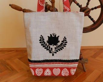 Tote bag with Matyo embroidery, Handmade bag, Hungarian folk art bag, Hungarian embroidery