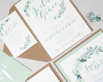 Botanical Wedding Invitation Suite -  Floral Wedding Invite Bundle - Wedding Stationery - Invitation Suite - Garden Wedding