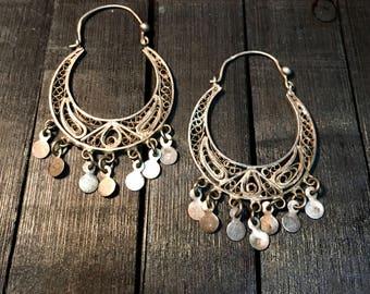 Vintage Sterling Silver Filigree Earrings   #261