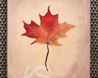 Maple Leaf Painting, Fall Leaf Art, Fall Color Art, Fall Painting, Original Home Decor, Fall Home Decor