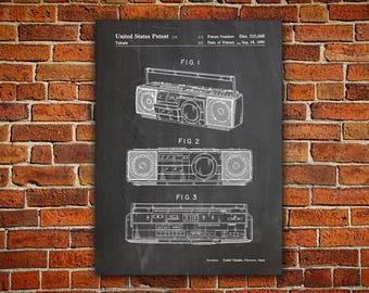 Boombox, Cassette Player Canvas painting,Ghetto Blaster,Music Room Decor,Music Room Wall Art,90s Decor,90s Poster,Cassette Recorder