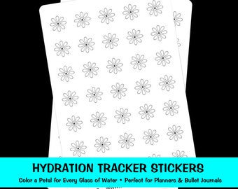 Hydrate Stickers, Hydrate Planner Stickers, Water Stickers, Hydration Tracker Flowers, Daily Hydration Stickers