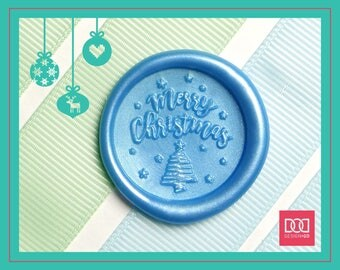 Merry Christmas with Stars - Design OD Wax Seal Stamp (DODWS0408)