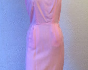Vintage Pink Summer Dress 50's Sleeveless Frock