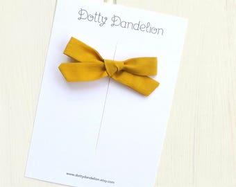Mustard Hair Bow - Yellow Hair Clip - Girls Hair Bow