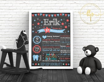 Personalized Birthday A3 Chalkboard Poster + Matching Invitation - Digital File - Blue Red Stars