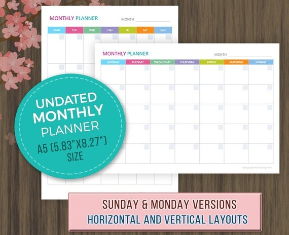 monthly planner 2018 template