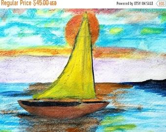 SALE Original Sunset Sailing Sailboat Seascape Ocean Sea Coastal Yellow Sun Watercolor Painting Art By Scott D Van Osdol Ready To Frame Artw