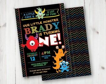 Little Monster 1st Birthday Invitations, Monster First Birthday Invitations, Monster Birthday Invitations, DIY First Birthday Invitations