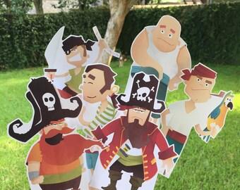 Pirate Birthday,Pirate Centerpiece, Pirate Party Decor, Pirate Birthday Decor, Pirate Stand Ups, Boy Pirate, Girl Pirate,Pirate, Pirates