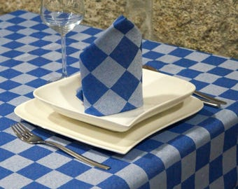 Luxury Blue Tablecloth - Anti Stain Proof Resistant - Large sizes - Ref. Lyon