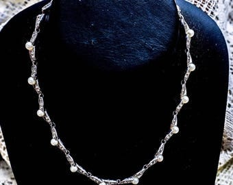 Vintage Signed Bogoff Mid Century Bridal Faux Pearl Clear Rhinestone Necklace
