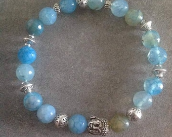 "Energized bracelet ""Anchor and luck"" cyan blue agate faceted and silver zen Buddha"