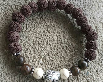 Energized bracelet men bronzite, howlite, Brown lava stone and silver zen Buddha