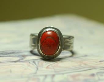 Red Jasper ring, Sterling Silver ring, Semi- precious stone ring, Nature Lover present