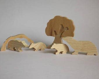The family of Badgers in wood