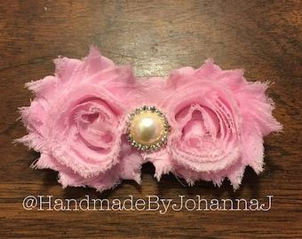 Pink Shabby Rosette Flower Hair Clip
