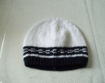 beanie blue and white - made hand-0-3 months-