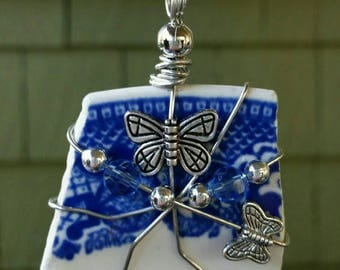 Lake Erie Beach pottery blue plate pendant with butterfly