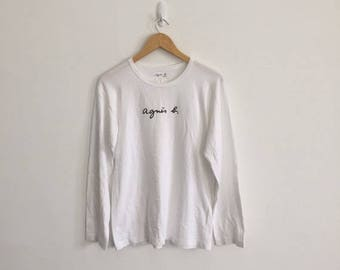 """Sale 25% AGNES B Made in France Size S Front Logo Spell Out White T-Shirt armpit 19.5""""x26 Rare Sonia Rykiel Thom Browne Rick Owens"""