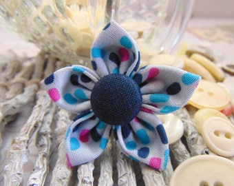 handmade flower in fabric multicolored 4.5 cm lot5