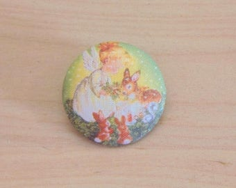 1 button x 28mm ref A34 Christmas girl fabric