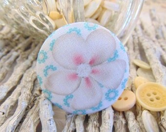 x 1 cabochon 22mm flower BOUT3 fabric
