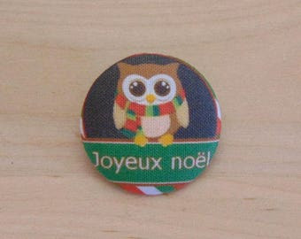 1 button x 22mm ref A35 Christmas OWL fabric