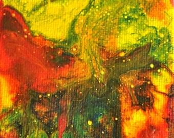 "Original Art, Mini Painting, Abstract Acrylic Painting 3x3"", Fluid Art, Miniature Pour Painting, Modern Art, Small Painting, Tiny Art"
