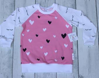 kids organic cotton, Pink hearts top, girls heart top,girls eyelashes top,Toddlers heart top,baby heart top,girls pink white top,