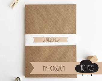 Envelope C6 / kraft brown / 11,4 x 16,2 cm / 10 pieces