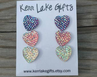 Heart earrings, 3 pairs studs, Nickel free plastic post earrings, Earrings for sensitive ears, Earring set, Earring gift set for her