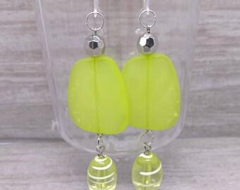 Large statement earrings, Neon yellow Earrings, Plastic earring hooks, Plastic french hooks, Metal free earrings, Long earrings