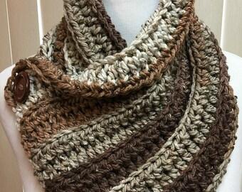 Brown Neckwarmer Scarf, Crochet Neckwarmer, Chunky Brown Scarf, Brown Striped Scarf, Brown Button Scarf, Winter Accessories, Neck Warmer