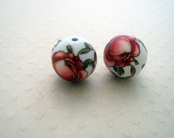 Set of 2 bead Tensha 12 mm red/white-TB-0611