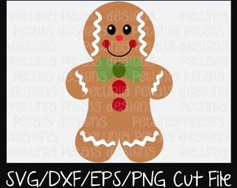 Gingerbread Boy SVG Cut File Christmas Cut File Gingerbread SVG Cookie Design Cricut Silhouette Design Petunia Petals Designs 11183