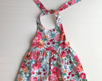 Multicolor Floral Halter Dress Girls Dress
