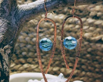 Hand hammered, wire wrapped copper drop earrings