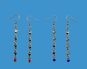 Heart and birthstone earrings