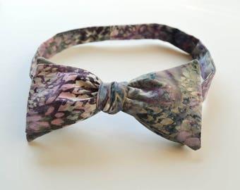 Grey Lavender Floral Self Tie Bow Tie