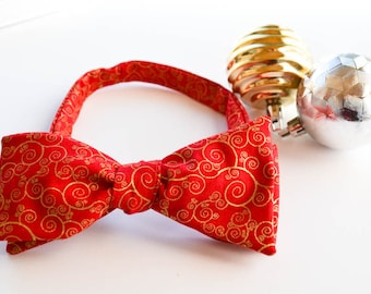 Christmas Bow Tie, Red Bow Tie, Metallic Bowtie, Self Tie Bow Tie, Holiday Bow Tie, Red Gold Bowtie, Holiday Bowties, Mens Bowties, Bowtie