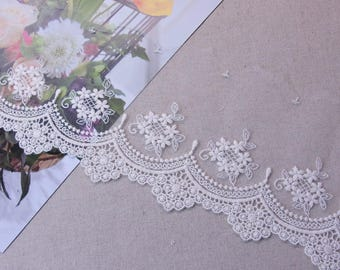 """Gorgeous Lovely Embroidered Tulle Lace Trim  Ivory 11cm(4.3"""") Wide 1Yd #2"""