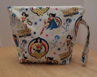 "Large Zippered, Padded Knitting/Crochet/Loom/Cosmetic/Toy Bag -14""x12"", 2 Inside Pockets, Side Handle, Wonder Woman"