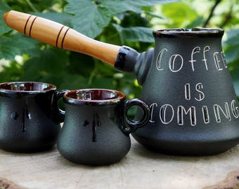 Espresso set , Ceramic coffee set, Gift|for|boyfriend, Pottery turkish coffee set ,Coffee lovers gift|for|daughter Sister gift