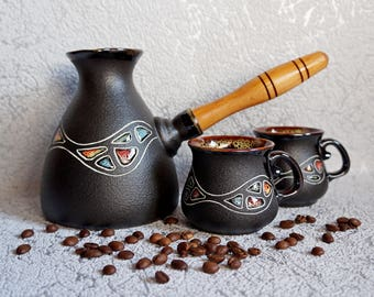 Gift|for|men Ceramic coffee set Stounes Ceramic coffee maker Coffee pot set Love gift Black set New home gift Husband gift Unique gifts