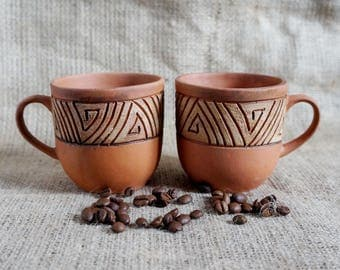 Stoneware cup set of two coffee mug Organic Tea cup Drink me Pottery mug Family gift ideas New home gift couple New house gift for sister