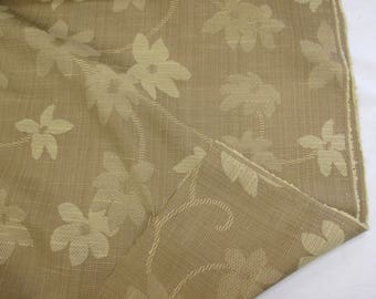 """Beige/Oat Floral """"Apapulco"""" 110""""/280cm Linen Blend Upholstery/Curtain Fabric."""